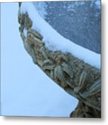 Bird Bath In The Snow Metal Print