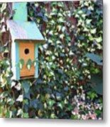 Bird Feeder In Ivy Metal Print