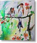 Bird Feeding Baby Watercolor Metal Print