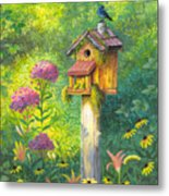 Bird House And Bluebird  Metal Print