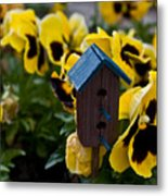 Bird House And Pansies Metal Print