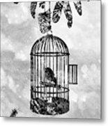 Bird In A Cage-black Metal Print