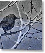 Bird In Digital Blue Metal Print