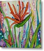Bird Of Paradise In An Imaginary Garden Metal Print