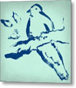 Bird On Branch In Blue Metal Print