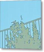 Bird On Fence Aqua II Metal Print