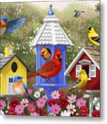 Bird Painting - Primary Colors Metal Print by Crista Forest