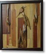 Bird Painting With Wooden Waste Metal Print