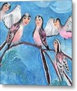 Bird People Long Tailed Tits Metal Print
