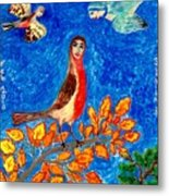 Bird People Robin Metal Print by Sushila Burgess