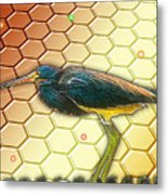 Bird Ponders The Disappearing Bees And Several Biological Markers Left In The Hive Metal Print by Wendy J St Christopher