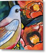 Bird With Prickly Pear Cactus Flowers Metal Print