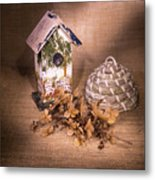 Birdhouse And Behive 1 Metal Print