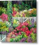 Birdhouse Garden Metal Print