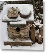 Birdhouse In The Snow Metal Print