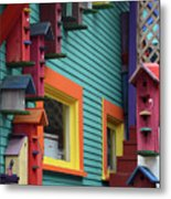 Birdhouses For Colorful Birds 3 Metal Print