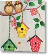 Birds And Birdhouse Metal Print