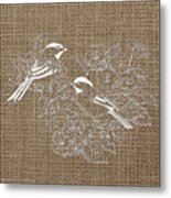 Birds And Burlap 2 Metal Print