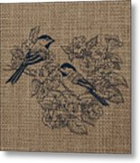Birds And Burlap 1 Metal Print