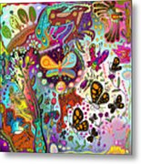 Birds And Butterflies Metal Print
