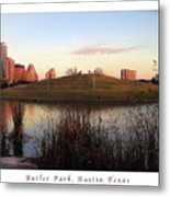 Birds And Fun At Butler Park Austin - Silhouettes 1 Poster And Greeting Card Metal Print
