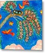 Birds And Nest In Flowering Tree Metal Print