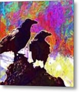 Birds Crow Black  Metal Print