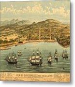 Birds Eye View Map Of San Francisco 1846 Metal Print