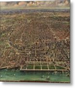 Birds Eye View Of Chicago 1916 Metal Print