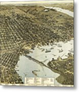 Birds Eye View Of Jacksonville Florida 1893 Metal Print