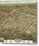 Bird's Eye View Of The City Of Raleigh, North Carolina 1872 Metal Print