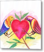 Birds In Love 01 Metal Print
