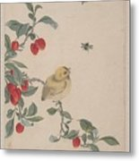 Birds Insects And Flowers Metal Print