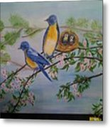 Birds Nest Family Metal Print