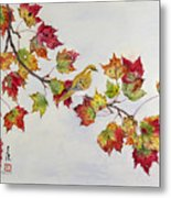 Birds On Maple Tree 1 Metal Print