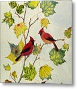 Birds On Maple Tree 2 Metal Print