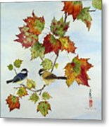Birds On Maple Tree 9 Metal Print