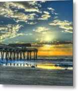 Birds On The Roof Sunrise Tybee Island Metal Print