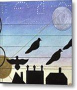 Birds On Wires Metal Print