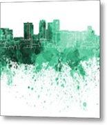 Birmingham Al Skyline In Green Watercolor On White Background Metal Print
