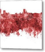Birmingham Skyline In Red Watercolor On White Background Metal Print