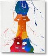 Bishop Chess Piece Paint Splatter Metal Print