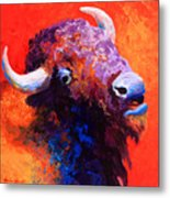 Bison Attitude Metal Print by Marion Rose