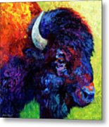 Bison Head Color Study IIi Metal Print