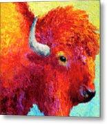 Bison Head Color Study Iv Metal Print by Marion Rose