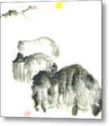 Bison In Snow II Metal Print