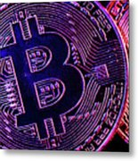 Bitcoin Coins In A Mysterious Lighting Metal Print