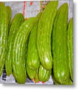 Bitter Gourd At The Market Stall Metal Print