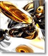 Black Amber Abstract Metal Print