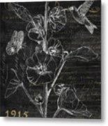 Black And Gold Hummingbirds 1 Metal Print